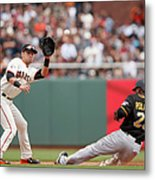 Joe Panik And Gregory Polanco Metal Print