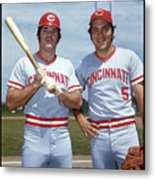 Johnny Bench and Pete Rose Metal Print