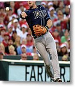 Johnny Giavotella And Evan Longoria Metal Print