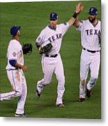 Josh Hamilton, Jeff Francoeur, and Nelson Cruz Metal Print