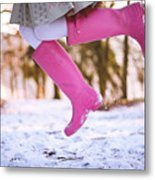 Jumping with pink boots Metal Print