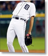 Justin Verlander and Chris Iannetta Metal Print