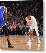 Kevin Durant and Russell Westbrook Metal Print