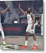 Kevin Durant, Kyrie Irving, and James Harden Metal Print