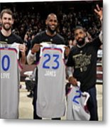 Kevin Love, Kyrie Irving, and Lebron James Metal Print