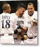 Khris Davis, Wily Peralta, and Yovani Gallardo Metal Print