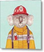 Koala Firefighter Metal Print
