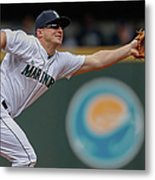 Kyle Seager And Chris Denorfia Metal Print