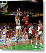 Larry Bird and Michael Jordan Metal Print