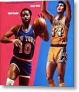 Los Angeles Lakers Jerry West And New York Knicks Walt Sports Illustrated Cover Metal Print