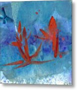 Lotus and Butterfly Metal Print