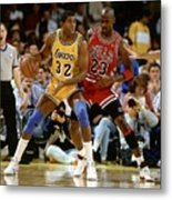 Magic Johnson and Michael Jordan Metal Print