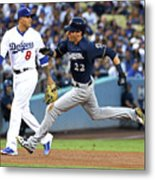Manny Machado, Christian Yelich, and Lorenzo Cain Metal Print