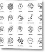 Mentoring Icon Set Metal Print