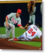 Michael Bourn And Chase Utley Metal Print
