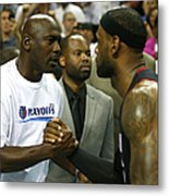Michael Jordan and Lebron James Metal Print