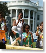 Michelle Obama Hosts Girls Scouts At First-Ever White House Campout Metal Print