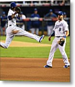 Mike Moustakas and Alcides Escobar Metal Print