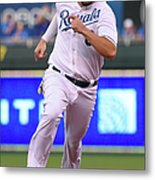 Mike Moustakas and Lorenzo Cain Metal Print