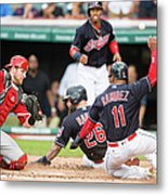 Mike Napoli, Lonnie Chisenhall, and Jett Bandy Metal Print