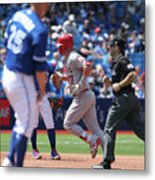 Mike Trout and Marco Estrada Metal Print