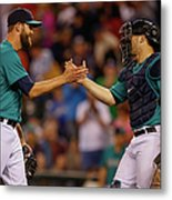 Mike Zunino And Tom Wilhelmsen Metal Print