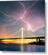 Mother Nature Appears,Lightning Storm, Oakland  Metal Print