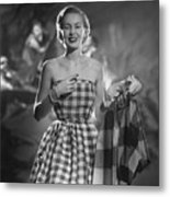 Mrs. William McManus Wearing Gingham-Check Metal Print
