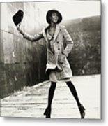 Naomi Campbell Jumping in the Air Metal Print