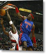 NBA Basketball 2005 - Pistons vs. Trailblazers Metal Print