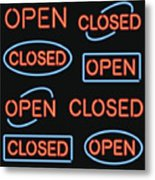 Neon 'Open' and 'Closed' Sign Set Metal Print
