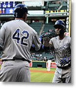 Omar Infante And Billy Butler Metal Print