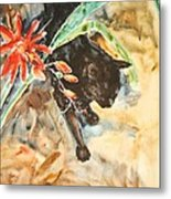 Panther With Passion Flower Metal Print