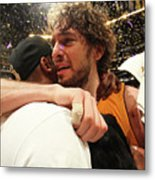 Pau Gasol and Kobe Bryant Metal Print