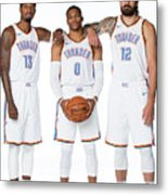 Paul George, Russell Westbrook, and Steven Adams Metal Print