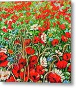 Poppies In The Wild Metal Print