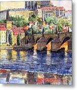 Prague Castle with the Vltava River 1 Metal Print
