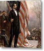 President Abraham Lincoln Giving A Speech Metal Print