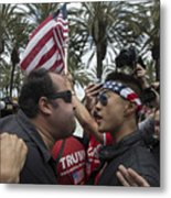 Protestors Rally Outside Trump Campaign Event In Anaheim Metal Print