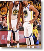 Quinn Cook and Kevin Durant Metal Print
