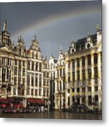 Rainbow over Grand Place Metal Print