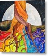 Rainbow Soil with Moon Metal Print