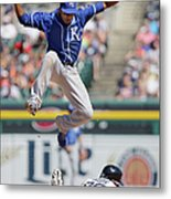 Rajai Davis and Alcides Escobar Metal Print