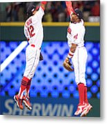 Rajai Davis and Francisco Lindor Metal Print