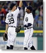 Rajai Davis and Josh Wilson Metal Print