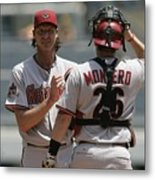 Randy Johnson and Miguel Montero Metal Print