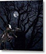 Raven and Rat Skeleton in Moonlight - Halloween Metal Print