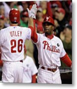 Ryan Howard, Jimmy Rollins, and Chase Utley Metal Print