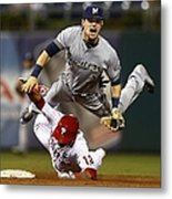 Scooter Gennett and Freddy Galvis Metal Print
