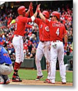 Scooter Gennett and Joey Votto Metal Print